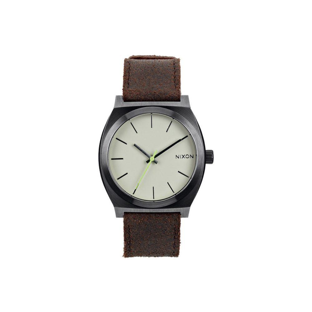Nixon Time Teller Leather Gunmetal/Brown